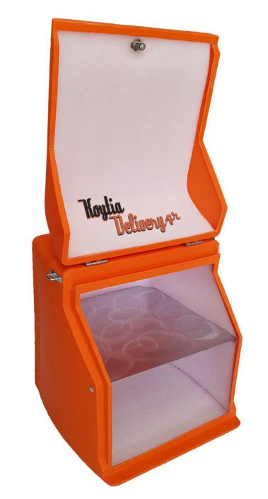 Κουτιά delivery πορτοκαλί ανοιχτό πολυαιθυλένιο moto nomikos κορυδαλλος αθήνα μεταχειρισμένα