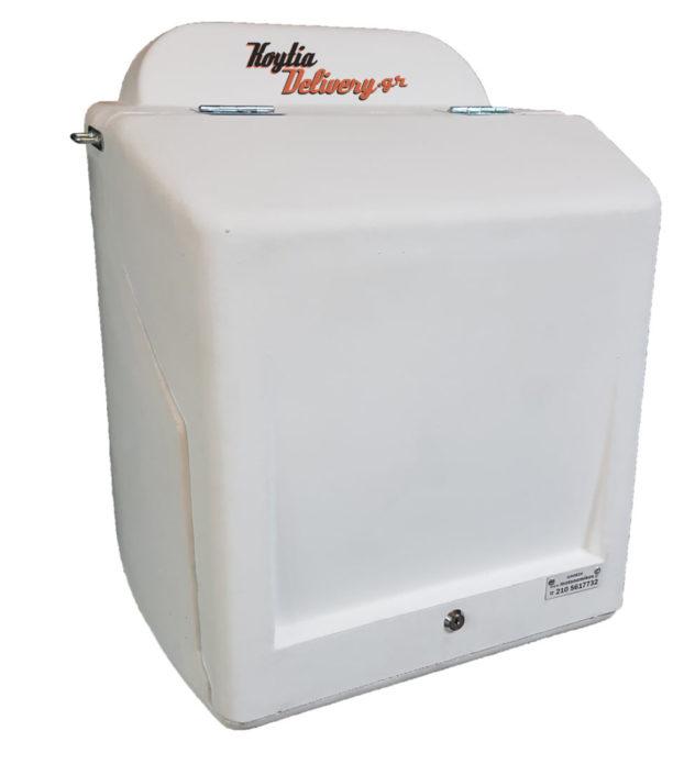 Λευκό άσπρο κουτί ντελίβερι delivery διανομής πλαστικό απο πολυαιθυλένιο