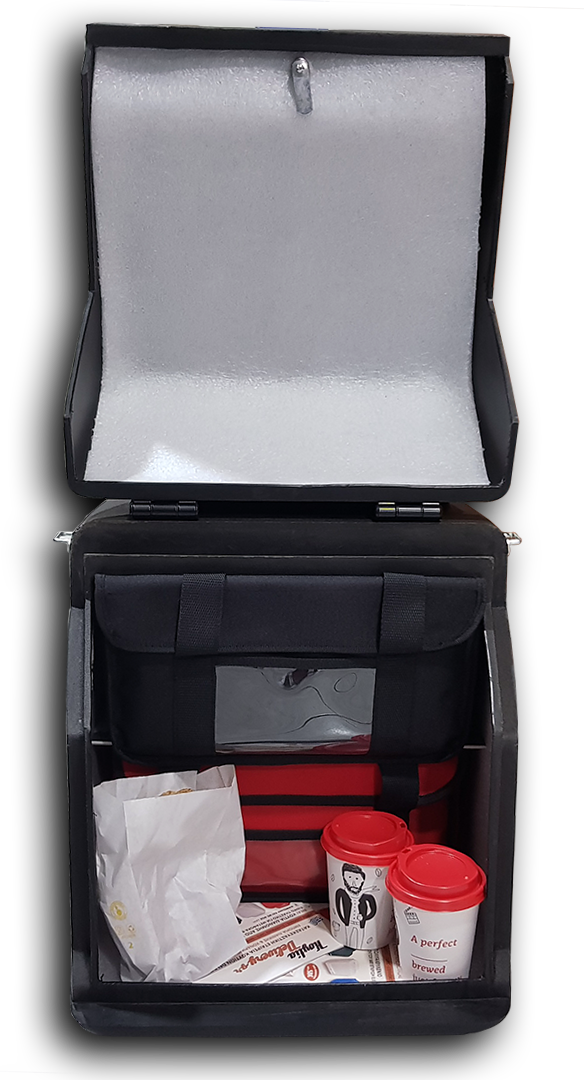 Μικρό κουτί delivery που χωράει 2 θερμόσακους πλαστικό για σουβλάκι, καφέ, πίτσα, σάντουιτς