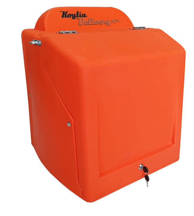 Πορτοκαλί κουτί ντελίβερι delivery διανομής πλαστικό απο πολυαιθυλένιο