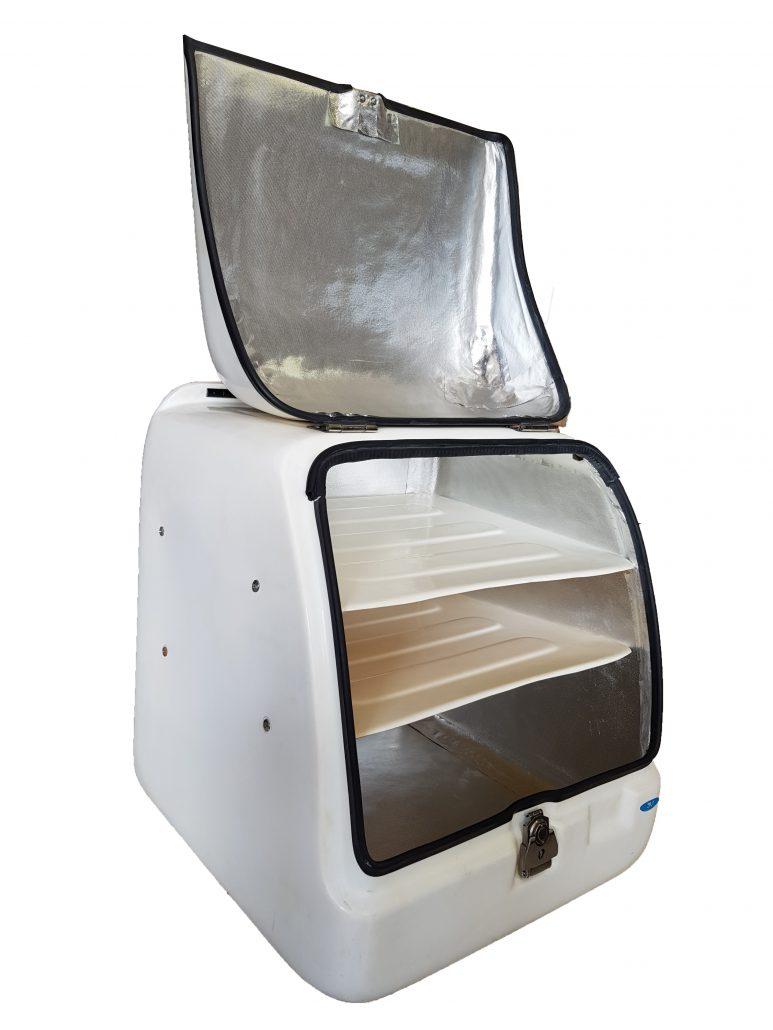 Φωτογραφία εσωτερικού χώρου πολυτελούς πολυεστερικού κουτιού delivery - διανομής με εσωτερική επένδυση και ράφι σε χαμηλή τιμή με φώτα led