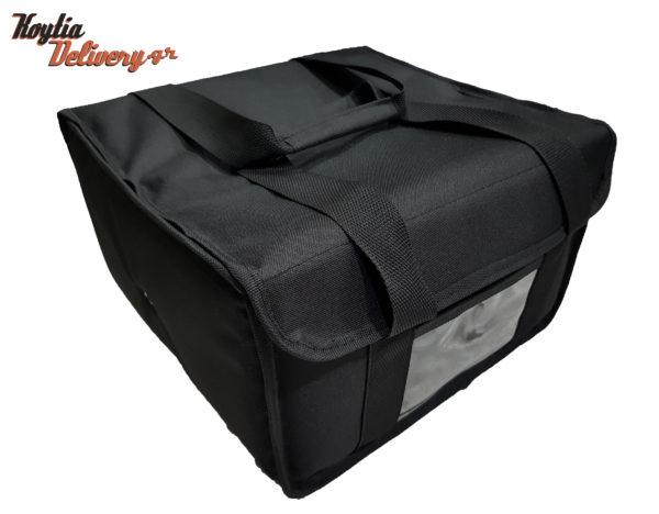 Τετράγωνος σάκος διανομής 36x30x20 μαύρος 9 θέσεων μικρός φαγητό εστιατόριο εστίαση ισοθερμικός θερμόσακος