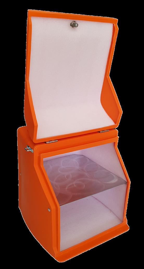 Πορτοκαλί πλαστικό κουτί delivery BOX 1 με λευκή εσωτερική επένδυση & ράφι απο πολυαιθυλένιο